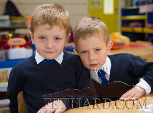 Starting school at Holy Trinity National School Fethard are L to R: Paddy Reilly and James Clooney.