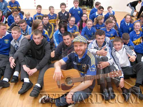 Singer 'Johnny B' photographed with pupils from Patrician Presentation Secondary School