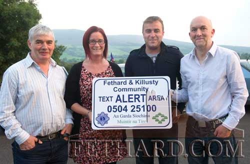 Members of the Killusty Community Text Alert Committee photographed at the launch in Cloneen L to R: Sean Aylward, Louise Coen,Damien Byrne and Kevin Ryan.