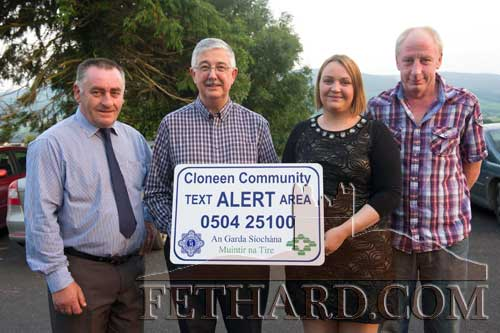 Members of the Cloneen Community Text Alert Committee photographed at the launch in Cloneen L to R: Noel Fitzgerald (Joint Treasurer), John O'Rourke (Chairman), Monica Barrett (Secretary) and Paul Holohan (Joint Treasurer).