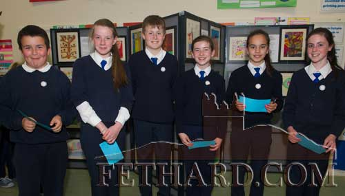Photographed at the 'Europe Day' at Holy Trinity National School. L to R: Simon Brawders, Ava Ward, Ciarán Maguire, Aine Ryan, Hayley Ryan and Laura Harrington.