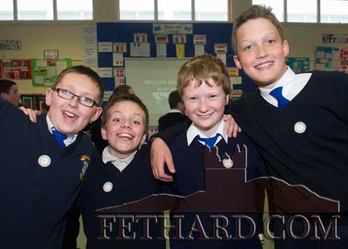 Photographed at the 'Europe Day' at Holy Trinity National School. L to R: Patrick Kennedy, Cian Lawrence, Patrick Walsh and Oleg Shabrat