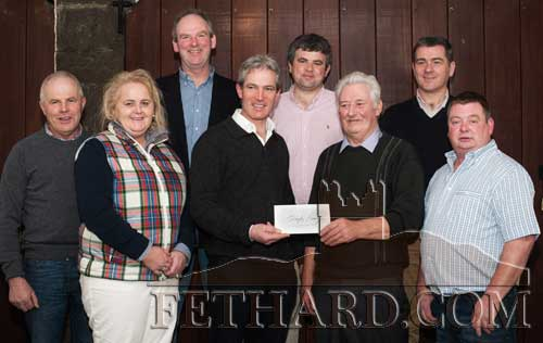 Photographed at the presentation of €15,000 to Jimmy Quigley by Tim Hyde MFH at a  function in the Archway bar Drangan last February. L to R: Thomas Kearney, Imelda Goldsboro, Charles Blackmore, Tim Hyde, David Guiry, Jimmy Quigley, Liam Kearney and John Quigley.