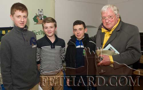 Photographed at the presentation of the  'Tipperariana Book of the Year for 2015' are Fethard students L to R: Darragh Hurley, Keith Morrissey and Robert Hackett with Liam Burke, long time member of Fethard Historical Society. The three students read passages from the winning book, John Fogarty's 'Scenes from an Indian Summer'.