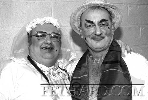 Bill O'Sullivan and Tom Purcell in fancy dress at the 'Fethard Bachelor of the Year' competition held at Fethard Ballroom on February 24, 1995.