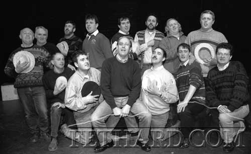 Male cast of Fethard Hogan Musical Society's 'Hello Dolly' photographed on stage at rehearsal on March 1, 1995. Back L to R: Gerry Fogarty, Jimmy O'Shea, Michael O'Brien, John Ward, Francis Lonergan, Sean Doyle, Miceál McCormack, Stephen McCormack. Front L to R: Micheál Maher, Barry Connolly, John Fogarty, Michael McCarthy, Paul O'Meara and Fr. Sean Ryan.