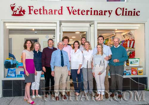 Members of the extended Hennessy family photographed at the official opening Frances and John Hennessy's new Veterinary Clinic on Main Street, Fethard, last weekend.