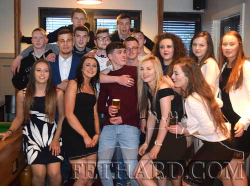 ethard Leaving Cert class of 2016 enjoying a social night out recently in Fethard. The class included Willie O'Meara, Sarah Looby, Dominic O'Dwyer, Alannah Coady, Michael O'Mahoney, Jamie Cahill, J.J. Freeman, Michael Whelan, Keith Cronin, Nathan Costin, Evan Murphy, Katie Whyte, Kiya Lawrence, Orla Walsh, Annie Prout and Louise Fitzgerald.